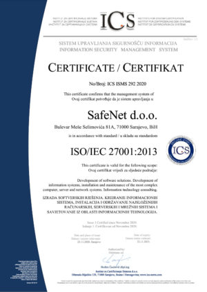Certifikat ISO 27001
